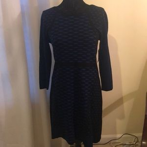 Nine West Blue & Black Sweater Dress Size Medium